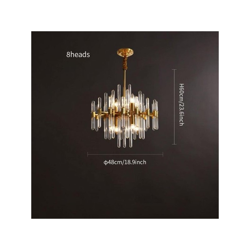 Brass Chandelier with Clear Glass...