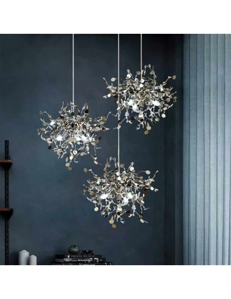 Hand-Made Stainless Steel Leaf Chandelier lamp